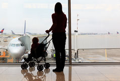 Family in the airport royalty free stock photography