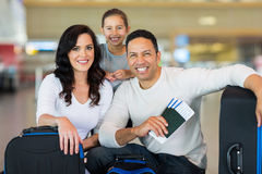 Family airport boarding. Beautiful family at airport before boarding Royalty Free Stock Photography