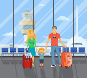 Family on the airport. Father with travel bag, mother with child goes to summer travel. Happy holiday, airplane scene. Vector illustration in flat design Royalty Free Stock Photography