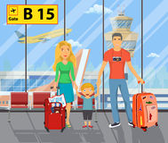 Family on the airport. Father with travel bag, mother with child goes to summer travel. Happy holiday, airplane scene. Vector illustration in flat design Royalty Free Stock Photo
