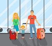 Family on the airport. Father with travel bag, mother with child goes to summer travel. Happy holiday, airplane scene. Vector illustration in flat design Stock Photography