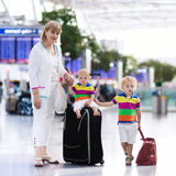 Family at airport before flight Stock Photography