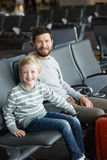 Family at airport Stock Photo