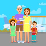 Family in Airport on Outdoor Area Background. Trip. Family in Airport on Outdoor Area Background. Father, Mother, Daughter and Son Stand in Front of Airplane vector illustration