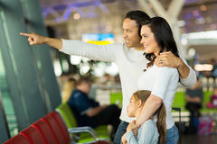 Family airport pointing outside Royalty Free Stock Photography