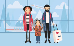 Family at airport. Trendy young couple with baby and luggage. Horizontal banner with mountains and airplane on Stock Images