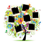 Family album. Floral tree. With frames for your photos stock illustration