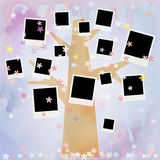 Family album on floral tree with photos Stock Photos