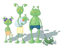 A family of aliens with a doggie Stock Photos