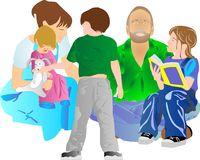 Family all together.. stock illustration