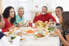 Family All Together At Christmas Dinner stock image