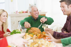 Family All Together At Christmas Dinner Royalty Free Stock Image