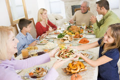 Family All Together At Christmas Dinner Stock Photography