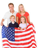 Family: American Family Holds Up United States Flag Royalty Free Stock Image