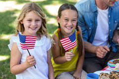 Family with American flag having a picnic Stock Image
