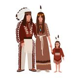 Family of American Indians. Mother, father and daughter dressed in ethnic tribal clothes standing together. Indigenous vector illustration