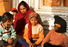 Family in Amritsar, India. Sikh family consisting of a mother, three small boys and a small girl in Golden Temple in Amritsar, Panjab, India, taken on 16-01-2010 Stock Images