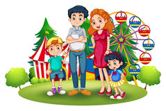 A family at the amusement park. Illustration of a family at the amusement park on a white background Royalty Free Stock Photo