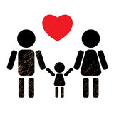 Family And Heart Stock Images