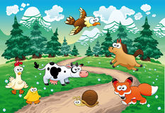 Family of animals with background. vector illustration
