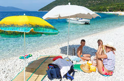 Family on Antisamos beach (Greece,  Kefalonia). Stock Photo