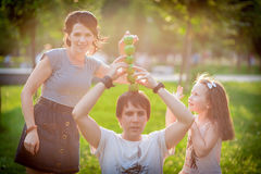 Family, apples, fun Royalty Free Stock Photography