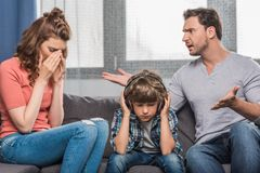 Family arguing at home royalty free stock photos