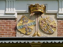 The family arms of  Borg Verhildersum. The family arms of borg Verhildersum a castle in Leens in Groningen in the Netherlands Stock Photography