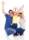 Family arms up. Happy young family arms up on white Royalty Free Stock Images
