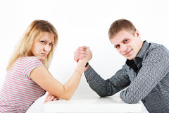 Family armwrestling Stock Photos