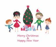 Family around Christmas tree Royalty Free Stock Images