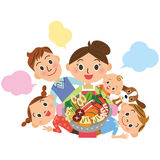 Family around a pan vector illustration