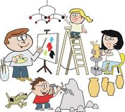 Family artist cartoon. Cartoon of happy family group painting pictures, creating sculpture, making mobile Royalty Free Stock Photography
