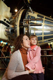 Family in an astronautics museum Royalty Free Stock Photos