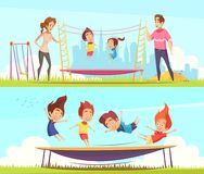 Family Attractions Banners Collection Royalty Free Stock Images