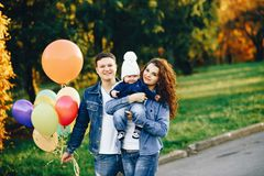Beautiful family in a park royalty free stock photo