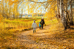 Family in autumn forest Royalty Free Stock Photos