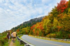 Family  on autumn hiking trip. Royalty Free Stock Images