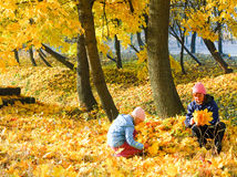 Family in autumn maple park Stock Photo