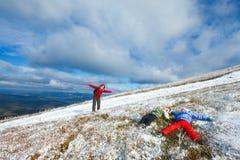 Family on autumn  mountain plateau Royalty Free Stock Photo