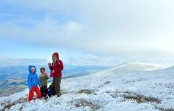 Family on autumn  mountain plateau Stock Photography