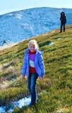Family on autumn mountain plateau Stock Images