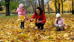 A family in an autumn park collects leaves. Mom and two daughters play with leaves in the park in the fall. Beautiful stock video