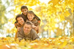 Family in autumn park Stock Photography