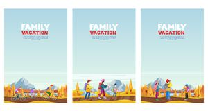 Family autumn vacation. Cycling, hiking and outdoors sports activity. Vector cartoon style illustrations set. royalty free illustration