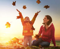 Family on autumn walk Stock Photo