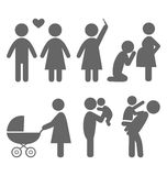 Family and baby flat icons isolated on white Stock Image