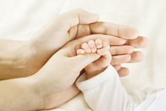 Family Baby Hands. Father Mother Holding Newborn Kid. Child Hand