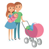 Family with baby in stroller. Mother and father with baby stroller. Vector illustration Stock Photos