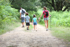 Family of back packers walking in forest Stock Photos